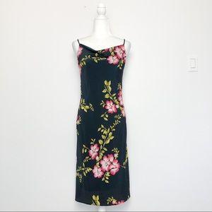 Vintage Y2K Floral Cowl Neck Midi Slip Dress Small